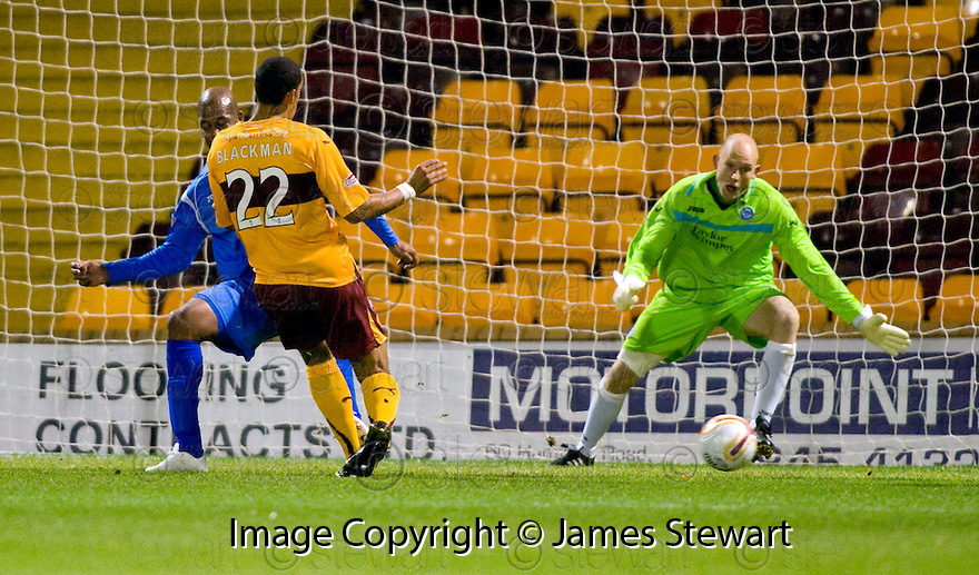10/11/2010   Copyright  Pic : James Stewart.sct_jspa003_motherwell_v_st_johnstone  .::  NICK BLACKMAN SCORES HIS SECOND  ::.James Stewart Photography 19 Carronlea Drive, Falkirk. FK2 8DN      Vat Reg No. 607 6932 25.Telephone      : +44 (0)1324 570291 .Mobile              : +44 (0)7721 416997.E-mail  :  jim@jspa.co.uk.If you require further information then contact Jim Stewart on any of the numbers above.........
