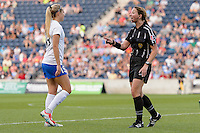 Bridgeview, IL - Saturday June 18, 2016: Kristie Mewis, Referee Danielle Brzezinski-Chesky during a regular season National Women's Soccer League (NWSL) match between the Chicago Red Stars and the Boston Breakers at Toyota Park.