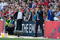 Manchester United manager Jose Mourinho and Chelsea manager Antonio Conte consult with their assistants <br /> <br /> Photographer Craig Mercer/CameraSport<br /> <br /> Emirates FA Cup Final - Chelsea v Manchester United - Saturday 19th May 2018 - Wembley Stadium - London<br />  <br /> World Copyright &copy; 2018 CameraSport. All rights reserved. 43 Linden Ave. Countesthorpe. Leicester. England. LE8 5PG - Tel: +44 (0) 116 277 4147 - admin@camerasport.com - www.camerasport.com