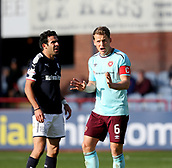30th September 2017, Dens Park, Dundee, Scotland; Scottish Premier League football, Dundee versus Hearts; Hearts' Christophe Berra