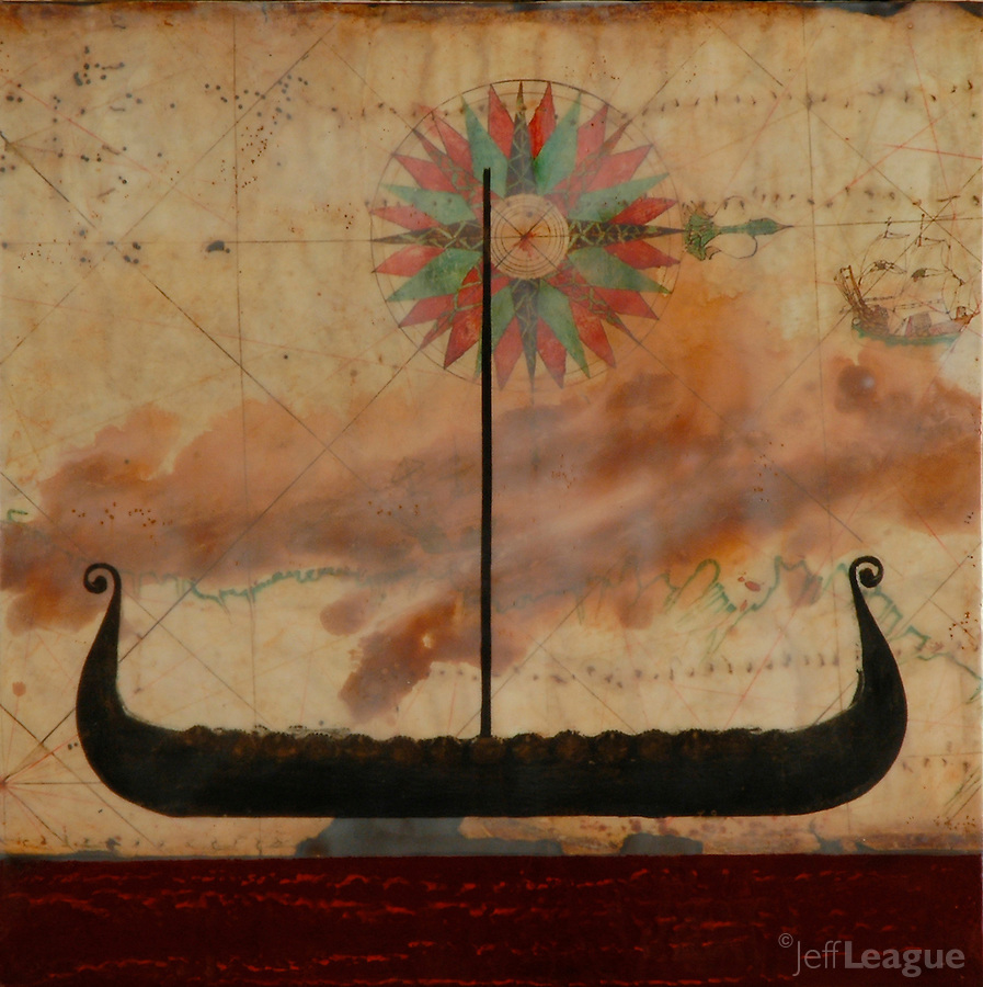 Viking Spirit boat, encaustic painting with photo transfer over antique map. SOLD