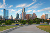 A lazy summer late afternoon greets downtown Austin, Texas, as seen from the sidewalk of the Long Center.
