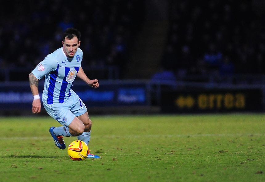 Coventry City's Chris Dagnall <br /> <br /> Photo by Chris Vaughan/CameraSport<br /> <br /> Football - The Football League Sky Bet League One - Coventry City v Oldham Athletic - Sunday 29th December 2013 - Sixfields Stadium - Northampton<br /> <br /> &copy; CameraSport - 43 Linden Ave. Countesthorpe. Leicester. England. LE8 5PG - Tel: +44 (0) 116 277 4147 - admin@camerasport.com - www.camerasport.com