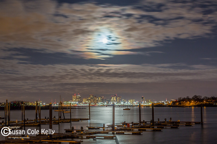 Moonset over Boston, Massachusetts, USA