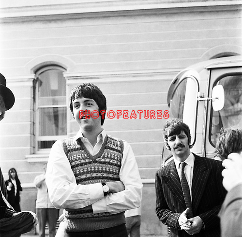 Beatles 1967 Paul McCartnwy and Ringo Starr at start of Magical Mystery Tour <br />