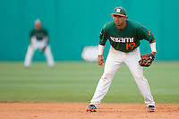 Second baseman Frankie Ratcliff #19 of the Miami Hurricanes on defense against the Virginia Cavaliers at the 2010 ACC Baseball Tournament at NewBridge Bank Park May 29, 2010, in Greensboro, North Carolina.  The Cavaliers defeated the Hurricanes 12-8.  Photo by Brian Westerholt / Four Seam Images