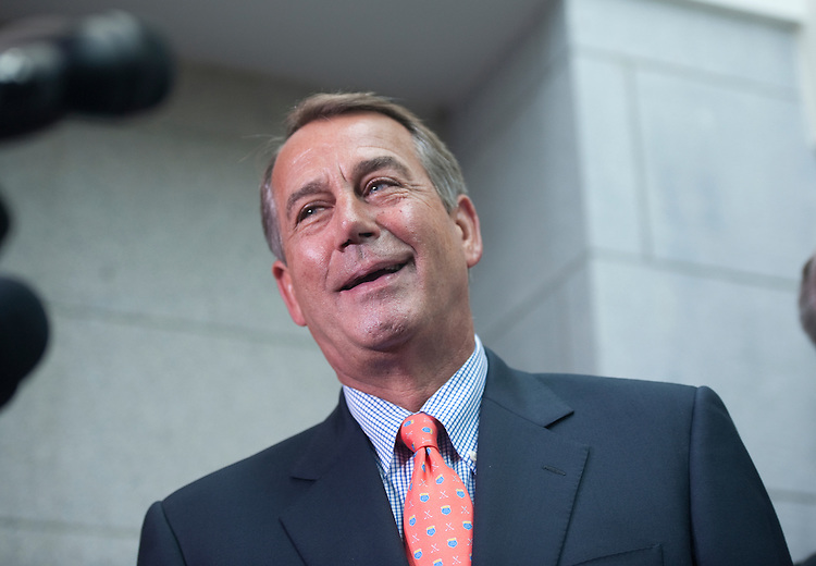 UNITED STATES - July 7:  Speaker of the House John Boehner, R-Ohio, answer questions from reporters after the House Republican Conference in the U.S. Capitol. (Photo By Douglas Graham/Roll Call)
