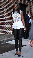 NEW YORK, NY-October 06:Aja Naomi King at the Late Show with Stephen Colbert  to talk about new movie The Birth of a Nation in New York.October 05, 2016. Credit:RW/MediaPunch