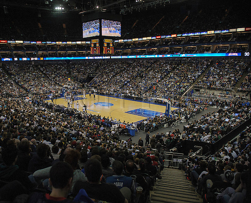16.01.2014 London, England.  General view of the arena during the NBA regular season game between the Atlanta Hawks and the Brooklyn Nets from the O2 Arena.