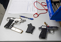 NWA Democrat-Gazette/BEN GOFF @NWABENGOFF<br /> Walther PPK pistols rest on a bench before being test fired Friday, Jan. 4, 2019, at Walther Arms in Fort Smith.