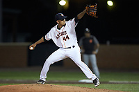 Buies Creek Astros relief pitcher Jesus Balaguer (44) in action against the Frederick Keys at Jim Perry Stadium on April 28, 2018 in Buies Creek, North Carolina. The Astros defeated the Keys 9-4.  (Brian Westerholt/Four Seam Images)