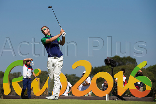 14.08.2016. Rio de Janeiro, Brazil.  Ireland's Seamus Power tees off, final round,Men's Individual Stroke Play Round 4 of the Golf events during the Rio 2016 Olympic Games at the Olympic Golf Course in Rio de Janeiro, Brazil, 14 August 2016.