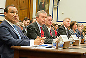 Panel before the United States House Committee on Transportation and Infrastructure as it hears testimony concerning airline customer service issues in Washington, DC on Tuesday, May 2, 2017.  From left to right: Oscar Munoz, Chief Executive Officer, United Airlines; Scott Kirby President, United Airlines; Joseph Sprague, Senior Vice President of External Relations, Alaska Airlines; Bob Jordan, Executive Vice President and Chief Commercial Officer, Southwest Airlines; Kerry Philipovitch, Senior Vice President of Customer Experience, American Airlines; and William J. McGee, Aviation Consultant, Consumers Union.<br /> Credit: Ron Sachs / CNP
