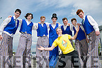 Mercy Mounthawk students l-r Zach Brosnan, Gerard Tansley, Ian Dillane, Hugo Wells, Tom Guerin, Shane Costello, Gerard Tobin  with the help of  Malachy Kelly, Tutor from Circus Schools, put on a performance in stilt walking at the official opening of the new school extension on Monday
