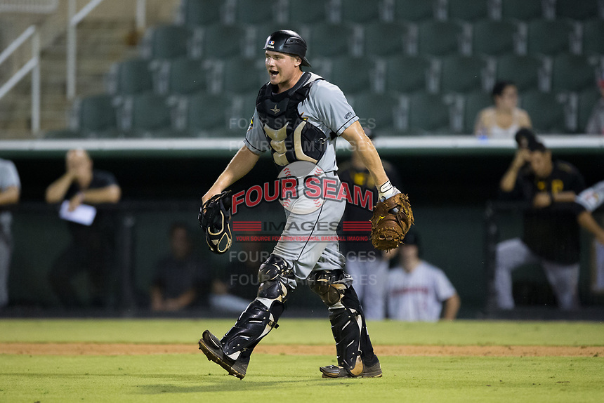 West Virginia Power catcher Arden Pabst (25) during the game against the Kannapolis Intimidators at Kannapolis Intimidators Stadium on July 19, 2017 in Kannapolis, North Carolina.  The Power defeated the Intimidators 7-4 in 11 innings.  (Brian Westerholt/Four Seam Images)