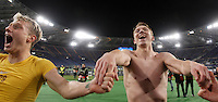 Calcio, Europa League: Lazio vs Sparta Praga. Roma, stadio Olimpico, 17 marzo 2016.<br /> Sparta Praha's Ladislav Krejci, left, and Borek Dockal celebrate at the end of the round of 16 second leg soccer match between Lazio and Sparta Praha, at Rome's Olympic Stadium, 17 March 2016. Sparta Praha won 3-0 to join the quarter finals.<br /> UPDATE IMAGES PRESS/Isabella Bonotto