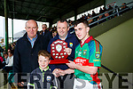 Lee Strand U16 County District Championship Football Plate Final Mid Kerry V Kenmare. Mid Kerry captain Shane Doona presented with the shield by Tom Keane, and Gerry Dwyer Lee Strand, With tommy Keane