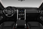 Stock photo of straight dashboard view of 2017 Land Rover Discovery HSE 5 Door SUV