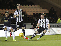 Tom Taiwo clears past Stephen Mallan in the St Mirren v Falkirk Scottish Professional Football League Ladbrokes Championship match played at the Paisley 2021 Stadium, Paisley on 1.3.16.