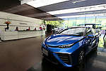 """May 8, 2015, Tokyo, Japan - Toyota Motor Corp.'s fuel cell vehicle FCV """"Mirai"""" is displayed at its showroom in Tokyo on Friday, May 8, 2015. The world's top-selling automaker forecasts operating profit will edge up 1.8 percent this year to 2.80 trillion yen. (Photo by Yohei Osada/AFLO)"""