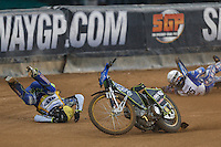Fredrik Lindgren (Sweden), left, collides with BARTOSZ ZMARZLIK (Poland), right, during the 2016 Adrian Flux British FIM Speedway Grand Prix at Principality Stadium, Cardiff, Wales  on 9 July 2016. Photo by David Horn.