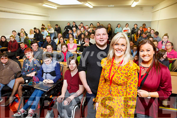 Johnny C&rsquo;Connor of Love Hate fame attending the Kerry College of Further education on Monday afternoon last. <br /> L-r Johnny O&rsquo;Connor (Love Hate actor) with Toir&eacute;asa Ferris and Micheala Brosnan.