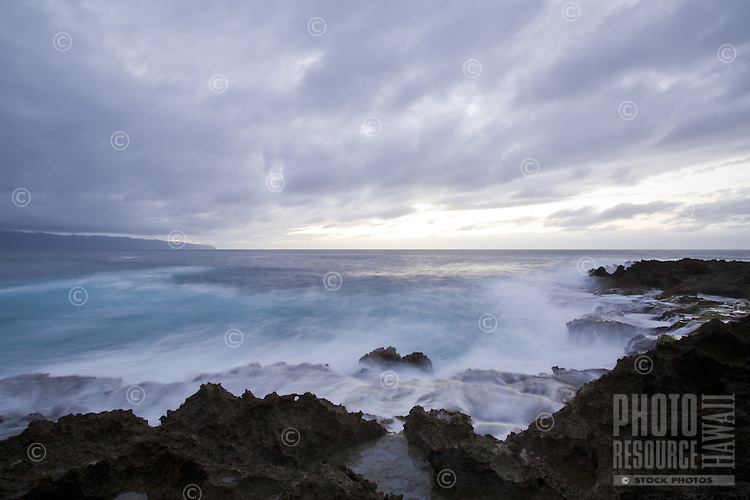 Waves breaking over the rocks at Turtle Bay