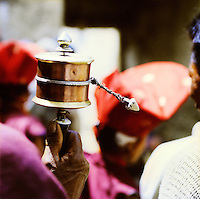 Close up of spinning prayer wheel, Ladakh, India