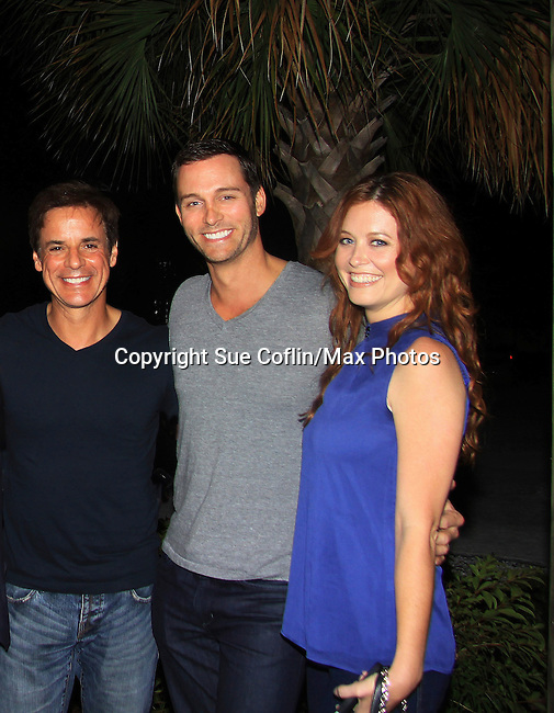 """Y&R Christian LeBlanc, Days Eric Martsolf and OLTL Melissa Archer at Southwest Florida's SoapFest's Celebrity Weekend to see Pelphrey doing A Night at the Theatre performing """"My Italy Story"""" benefitting the Apothecary Theatre Company at the Rose History Auditorium on November 11, 2012 in Marco Island, Florida. (Photo by Sue Coflin/Max Photos)"""