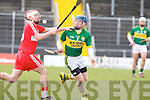Kerry's Patrick O'Keeffe and Derry's Shane Farren in action at Austin Stack park, Tralee on Sunday.