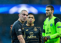 Scott Brown (left) of Celtic during the UEFA Champions League GROUP match between Manchester City and Celtic at the Etihad Stadium, Manchester, England on 6 December 2016. Photo by Andy Rowland.