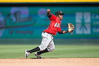 Indianapolis Indians shortstop Gift Ngoepe (5) on defense against the Charlotte Knights at BB&T BallPark on June 19, 2016 in Charlotte, North Carolina.  The Indians defeated the Knights 6-3.  (Brian Westerholt/Four Seam Images)
