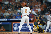 Trey Faltine (0) of the Texas Longhorns at bat against the Missouri Tigers in game eight of the 2020 Shriners Hospitals for Children College Classic at Minute Maid Park on March 1, 2020 in Houston, Texas. The Tigers defeated the Longhorns 9-8. (Brian Westerholt/Four Seam Images)