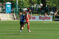 Kansas City, MO - Saturday May 13, 2017: Lo'eau Labonta and Hayley Raso compete during a regular season National Women's Soccer League (NWSL) match between FC Kansas City and the Portland Thorns FC at Children's Mercy Victory Field.