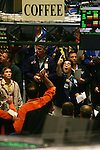 NEW YORK - MAY 05, 2006:  Coffee traders work the coffee futures pit at the New York Board of Trade on May 5, 2006 in New York City.  (Photo by Michael Nagle)