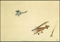 BNPS.co.uk (01202 558833)<br /> Pic: Sworders/BNPS<br /> <br /> 'Good Shooting Sir'<br /> <br /> An amazing set of watercolours painted whilst serving on the Western Front by Biggles creator W.E.Johns have emerged for sale.<br /> <br /> W.E.Johns was a bomber pilot in the fledgling RFC during the Great War, and his keen eye for detail has recorded Sopwith Camels and Fokker Triplane's wheeling through the skies.<br /> <br /> He was shot down and captured in 1918, but after the conflict he re-joined the RAF before creating boys own hero  James 'Biggles' Bigglesworth in the 1930's.<br /> <br /> Sworders 27th June, Est &pound;1000.