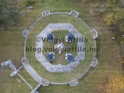 Aerial autumn view of a hill top monument in Zebegeny (about 70 kilometres north of capital city Budapest), Hungary on Oct. 28, 2017. ATTILA VOLGYI
