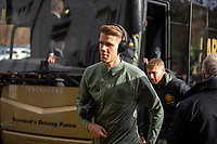 9th February 2020; Broadwood Stadium, Cumbernauld, North Lanarkshire, Scotland; Scottish Cup Football, Clyde versus Celtic; Kris Ajer of Celtic leaves the team bus for the match