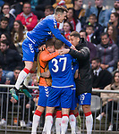 26.02.2020 SC Braga v Rangers: Ryan Kent mobbed as he celebrates his goal for Rangers