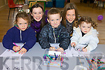 Young Artist taking part in the painting competition at the children's clothes and toys fair in Sciol Realta Na Maidaine on Sunday were, Aaron  and Letita Shine, Listowel Jade, and Irene Harkin and Ann Sugrue, Tralee.