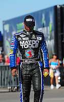 Oct. 30, 2011; Las Vegas, NV, USA: NHRA top fuel dragster driver Antron Brown during the Big O Tires Nationals at The Strip at Las Vegas Motor Speedway. Mandatory Credit: Mark J. Rebilas-