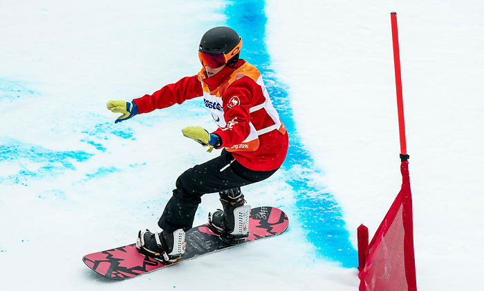 PyeongChang 16/3/2018 - Michelle Salt during the snowboard banked slalom at the Jeongseon Alpine Centre during the 2018 Winter Paralympic Games in Pyeongchang, Korea. Photo: Dave Holland/Canadian Paralympic Committee