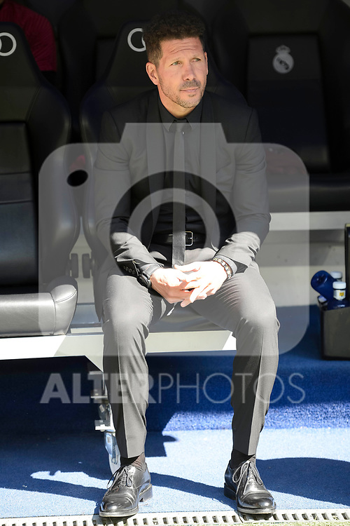 Atletico de Madrid's coach Diego Pablo Simeone during La Liga match between Real Madrid and Atletico de Madrid at Santiago Bernabeu Stadium in Madrid, April 08, 2017. Spain.<br /> (ALTERPHOTOS/BorjaB.Hojas)
