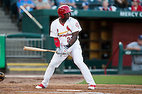 Starlin Rodriguez (27) of the Springfield Cardinals stands at bat during a game against the Northwest Arkansas Naturals at Hammons Field on August 20, 2013 in Springfield, Missouri. (David Welker/Four Seam Images)