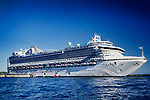 Ruby Princess grand-class cruise ship operated by Princess Cruises with people aboard docked in Victoria, Vancouver Island, BC, Canada 2017