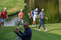 Dustin Johnson (USA) and Rory McIlroy (NIR) wave to the roaring crowd as they approach the green on 17 during round 4 of the World Golf Championships, Mexico, Club De Golf Chapultepec, Mexico City, Mexico. 2/24/2019.<br /> Picture: Golffile | Ken Murray<br /> <br /> <br /> All photo usage must carry mandatory copyright credit (© Golffile | Ken Murray)