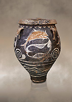 Minoan Kamares Ware jar with natural decorations of fish in a net, Phaistos 1900-1700 BC; Heraklion Archaeological  Museum.<br /> <br /> This pot is one of the earliest known examples of the shift of Minoan art towards depicting the natural world