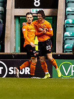 28th January 2020; Easter Road, Edinburgh, Scotland; Scottish Cup replay, Football, Hibernian versus Dundee United; Lawrence Shankland of Dundee United celebrates the opening goal to make it 0-1 for Dundee