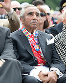 United States Representative Charlie Rangel (Democrat of New York), a Korean War Veteran, listens as U.S. President Barack Obama delivers remarks marking the 60th Anniversary of the Korean War Armistice at the Korean War Veterans Memorial in Washington, D.C. on Saturday, July 27, 2013.<br /> Credit: Ron Sachs / Pool via CNP