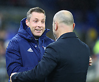 31st January 2020; Cardiff City Stadium, Cardiff, Glamorgan, Wales; English Championship Football, Cardiff City versus Reading; Neil Harris, Manager of Cardiff City and Mark Bowen, Manager of Reading shake hands before kick off - Strictly Editorial Use Only. No use with unauthorized audio, video, data, fixture lists, club/league logos or 'live' services. Online in-match use limited to 120 images, no video emulation. No use in betting, games or single club/league/player publications